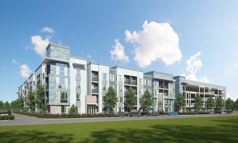 Rendering of multi level apartments with blue tiles and cars parked in front