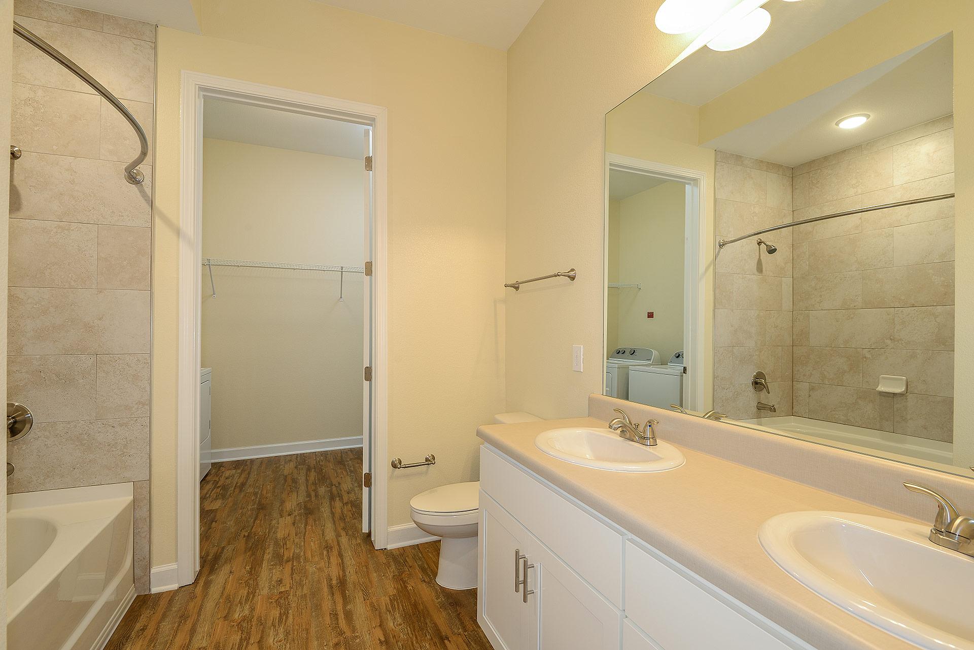 Wooden floor bathroom unit