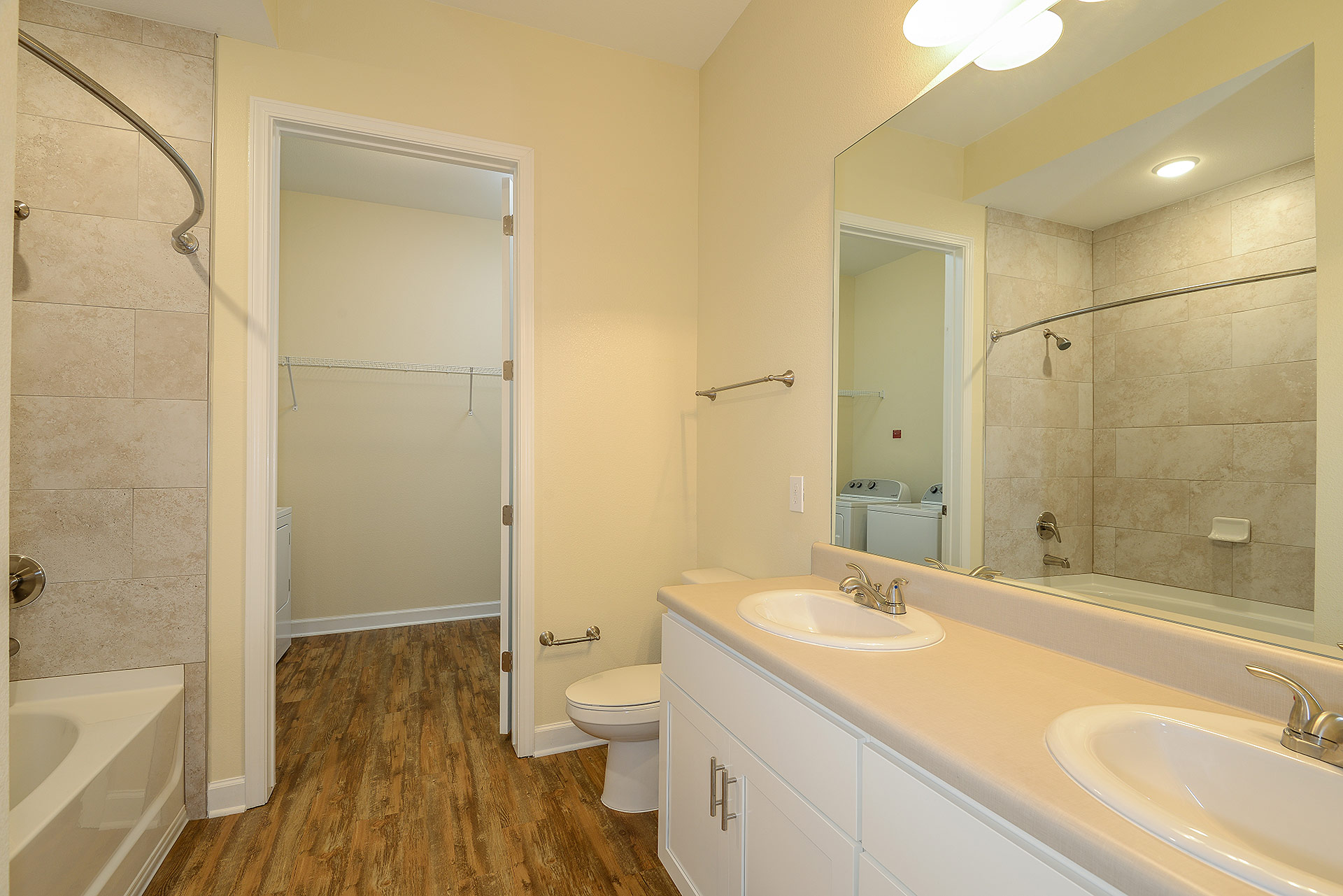 Wooden floor bathroom unit
