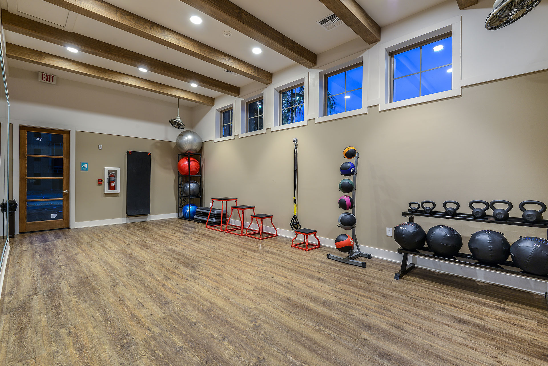 Workout room with exercise balls and wood floors