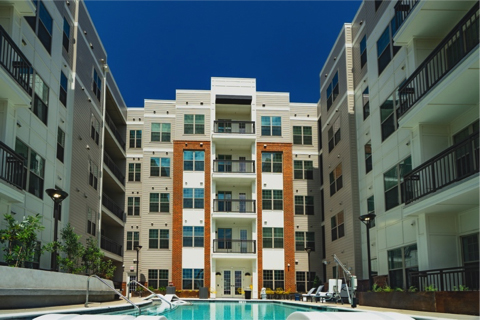 Inner pool area of Theory West Midtown Multifamily Student Housing by Summit Contracting Group