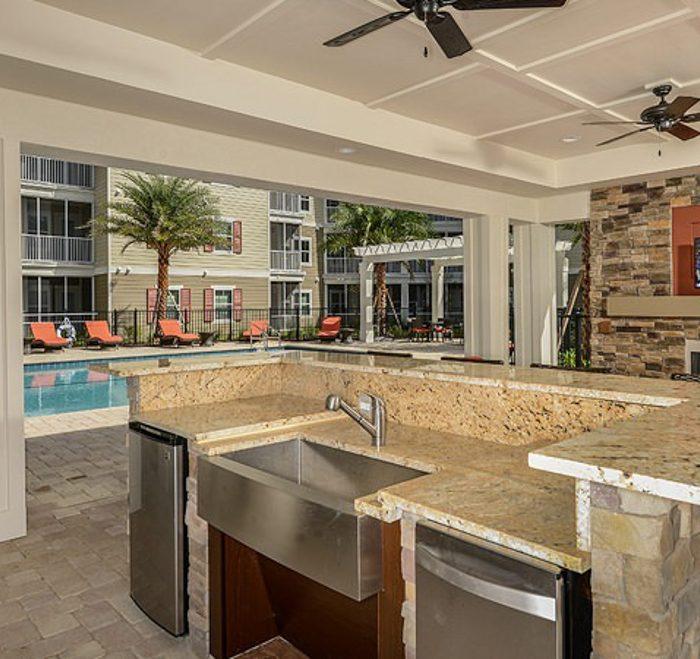 Monterey Pointe Market Rate Senior Living Apartments pool area's kitchen