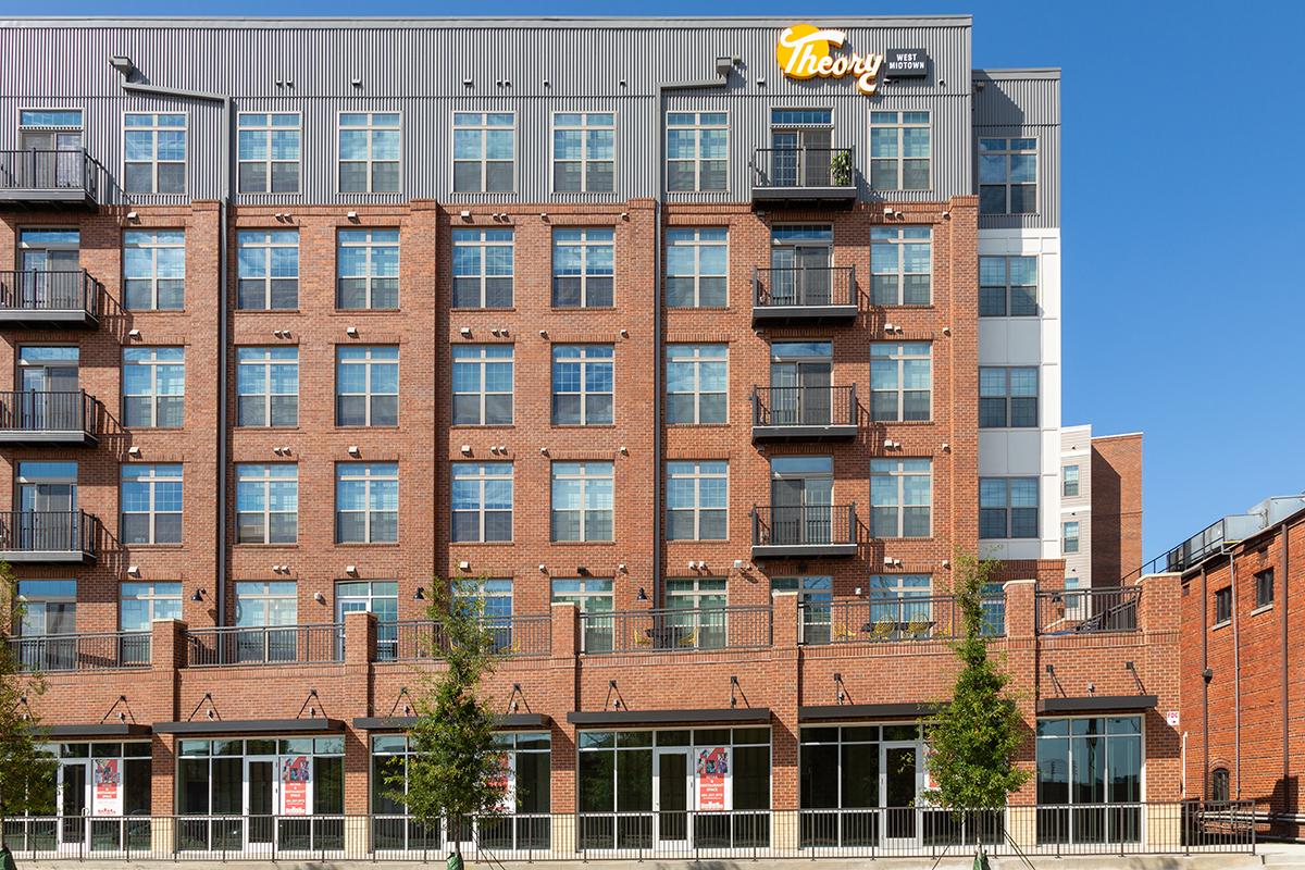 Brick and metal apartment building