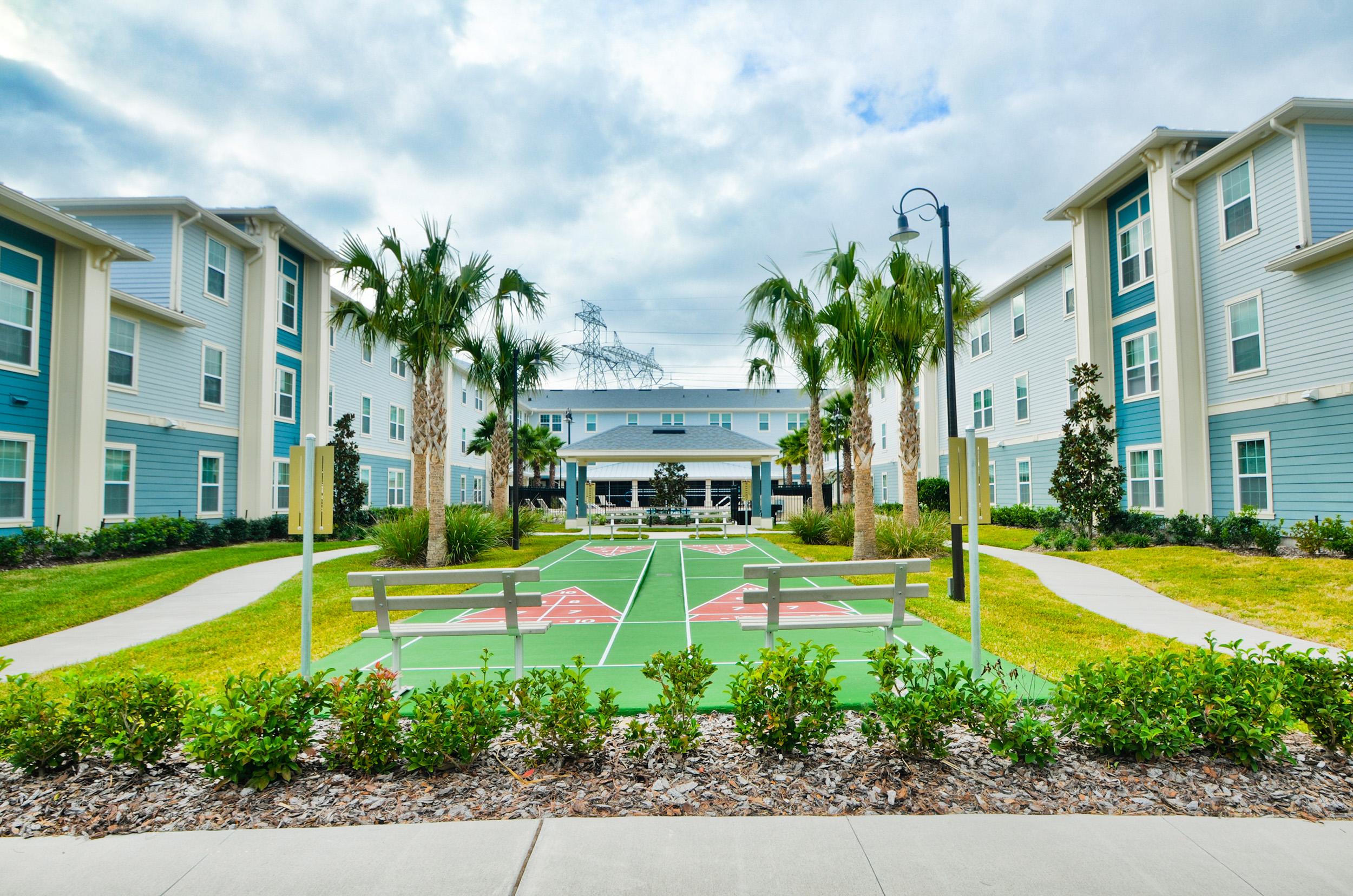 Senior living facility tennis court