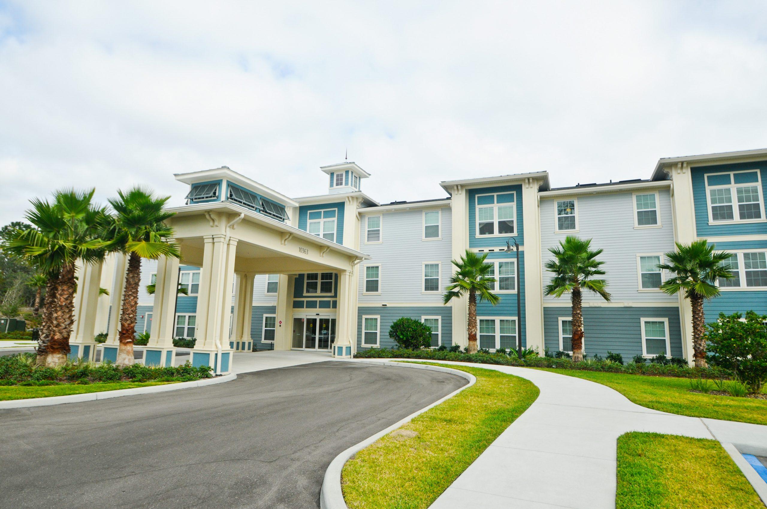 Senior living facility entrance in florida