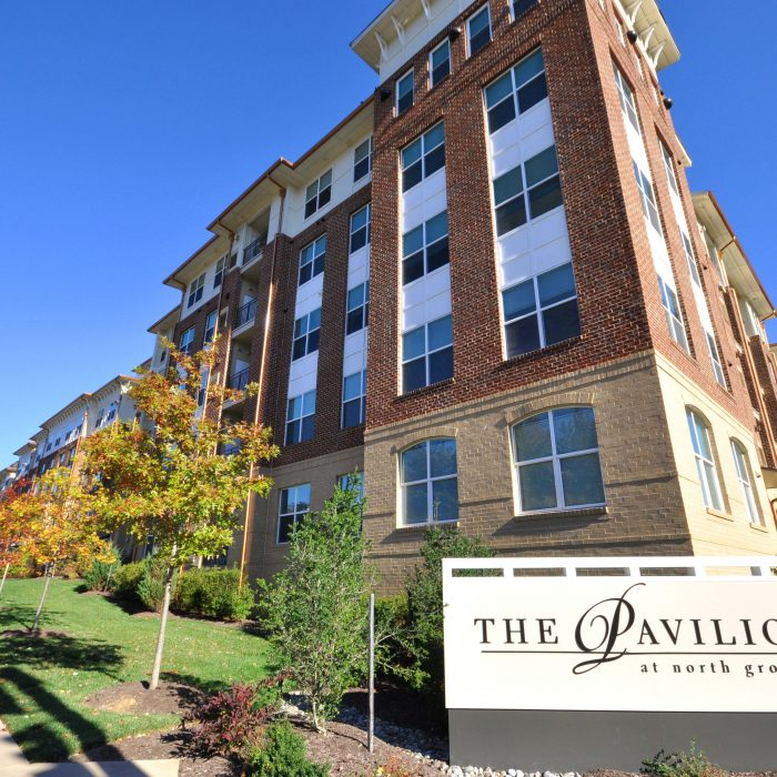 Multi story student housing singular brick building