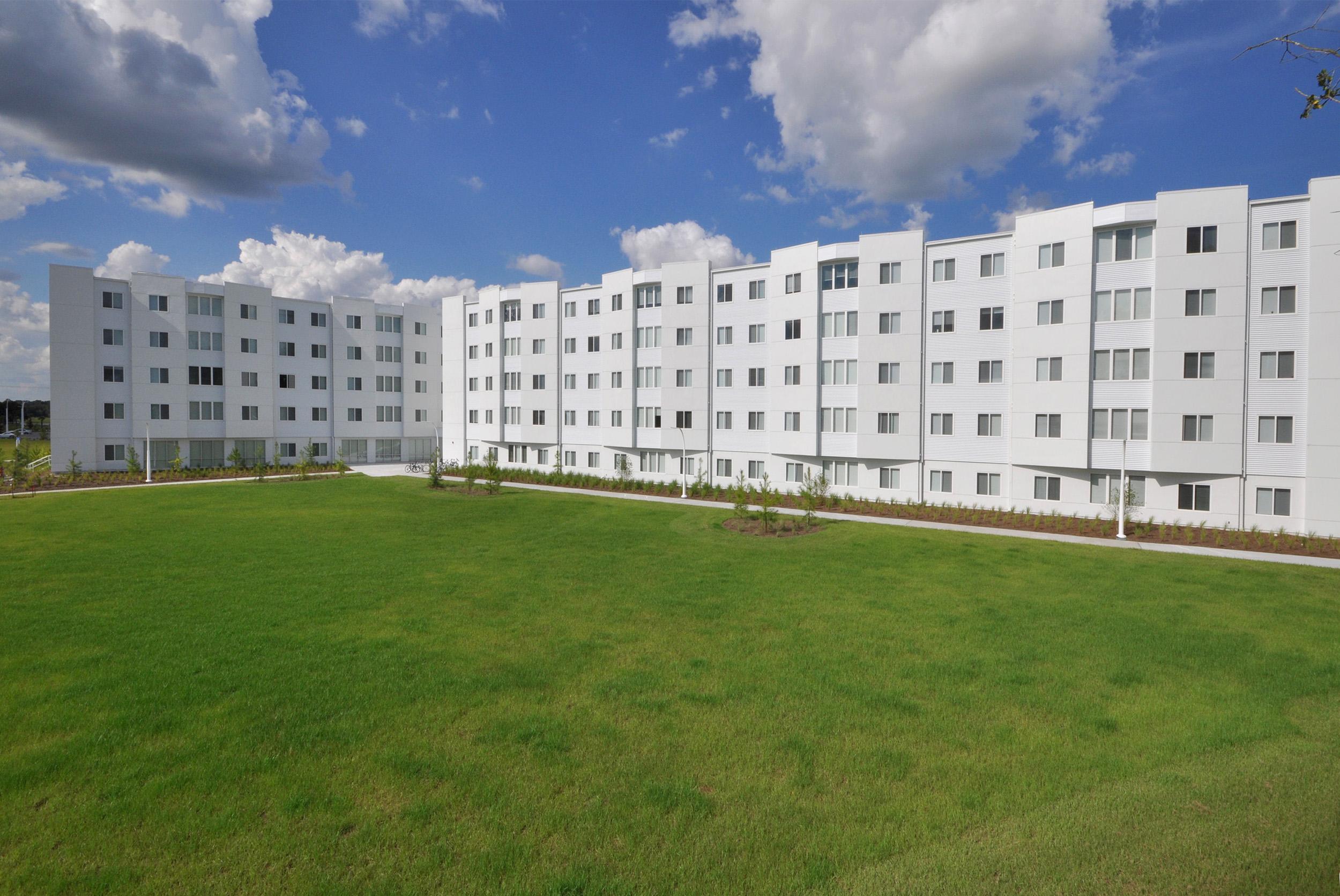 Student housing white multi story facility
