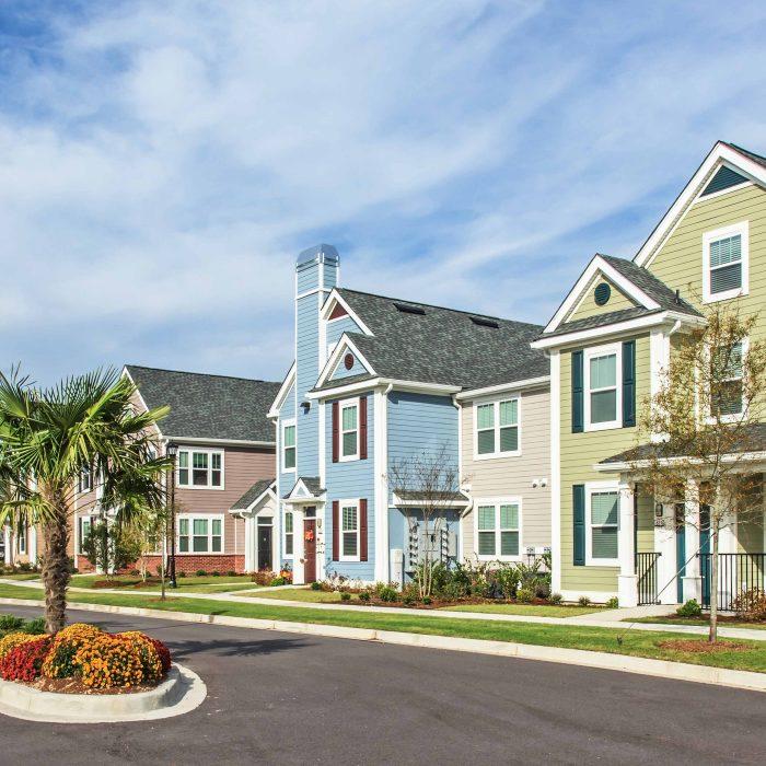 Pastel color apartment buildings