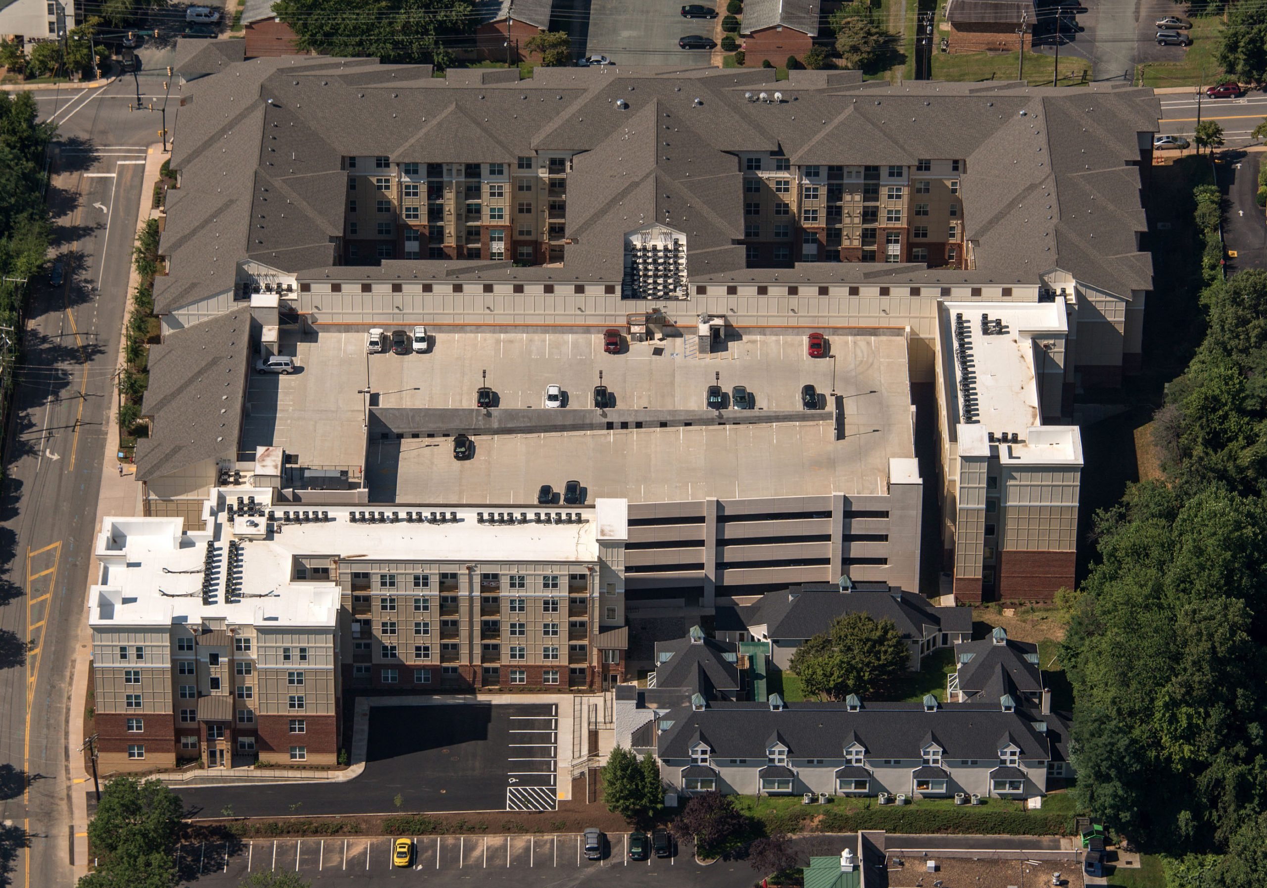 Aerial shot of brown student housing facility