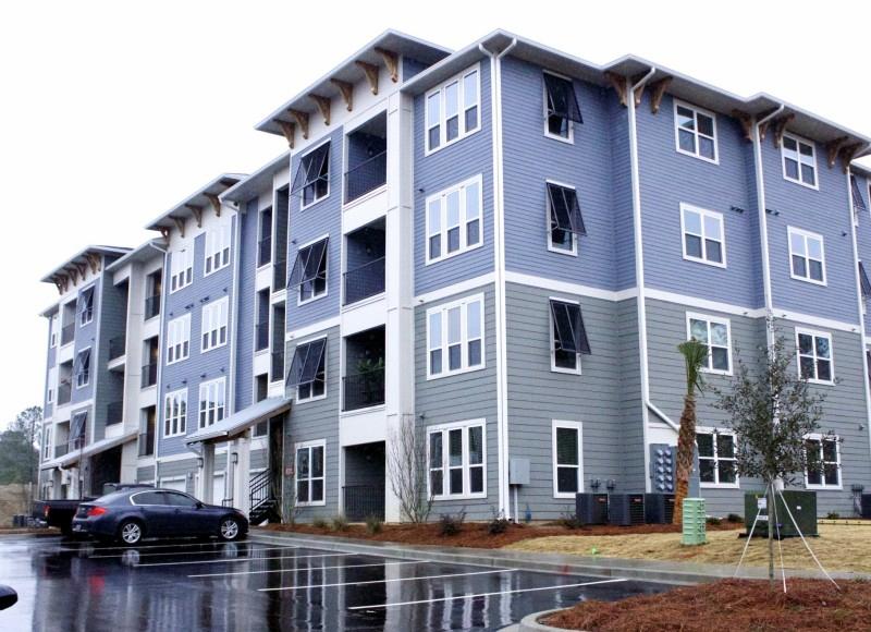 Light blue apartment building