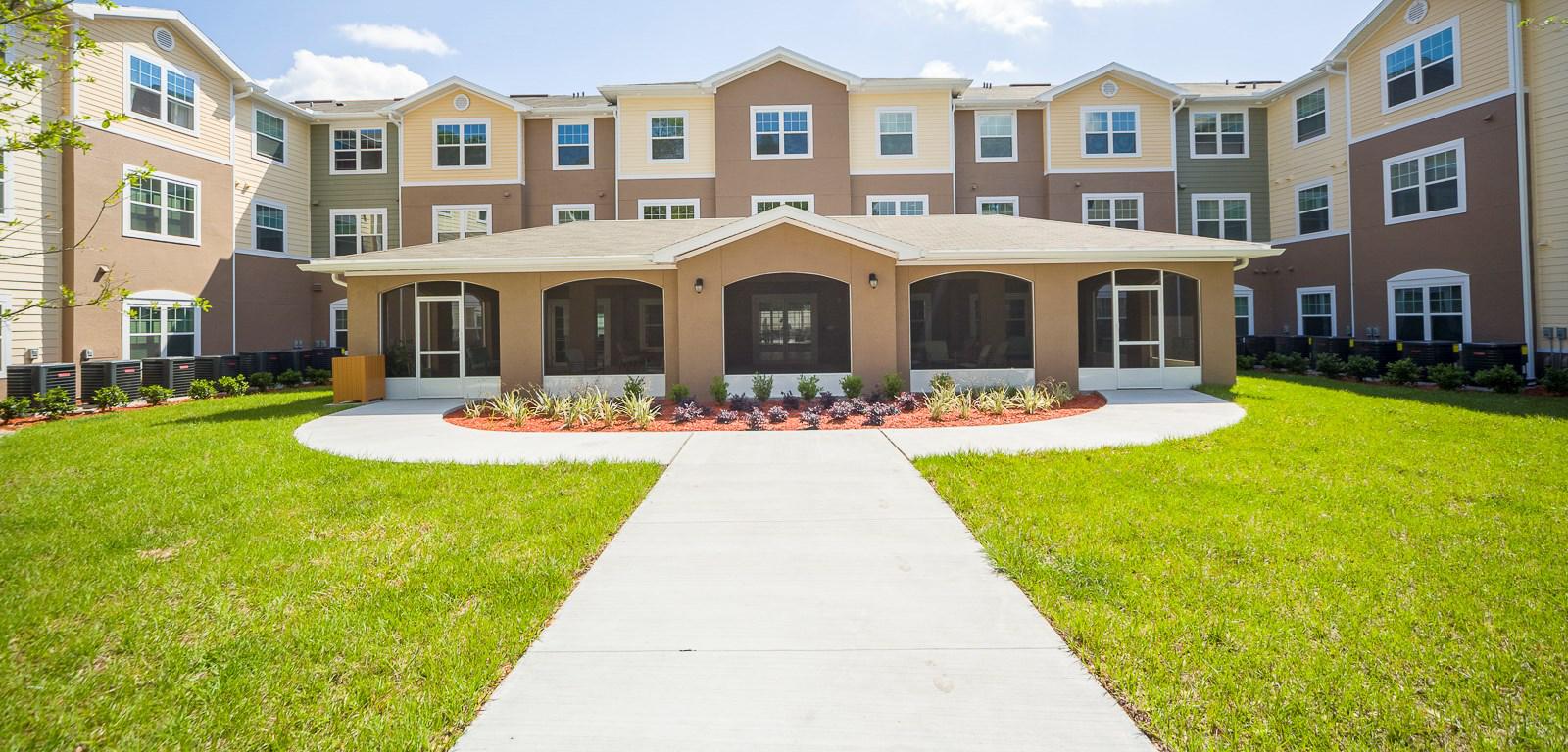 Senior living muti level facility courtyard