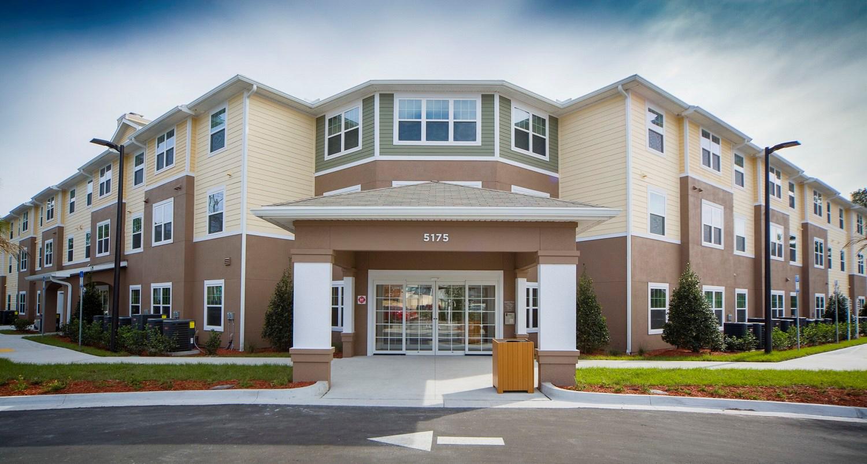 Multi story senior living facility entrance