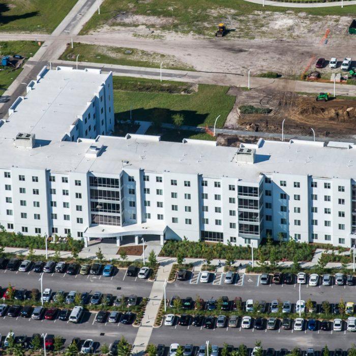 Aerial shot of multi story student housing development