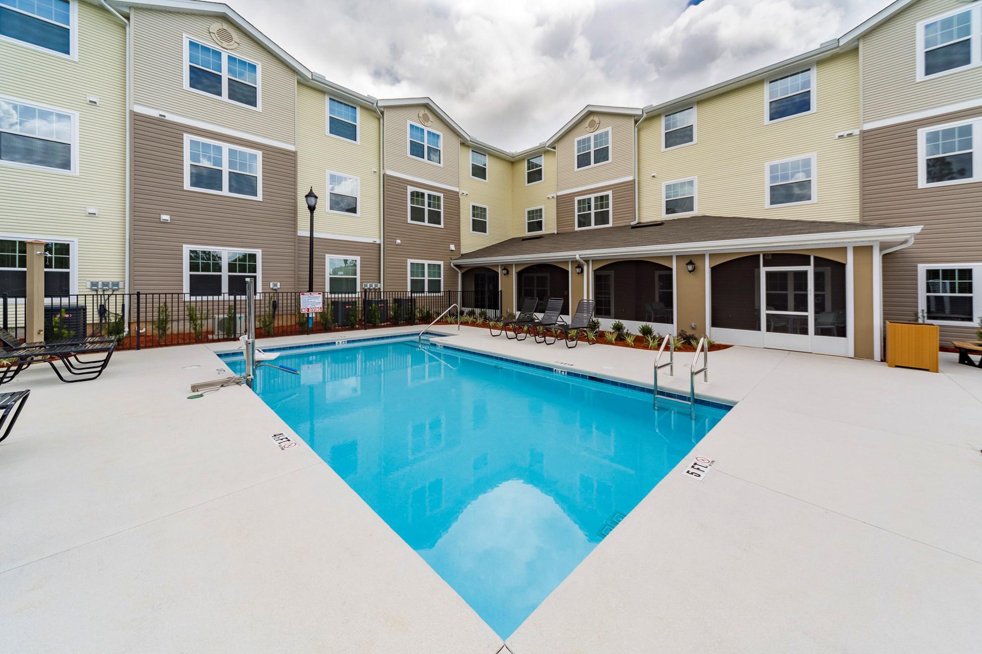 Senior living facility pool area