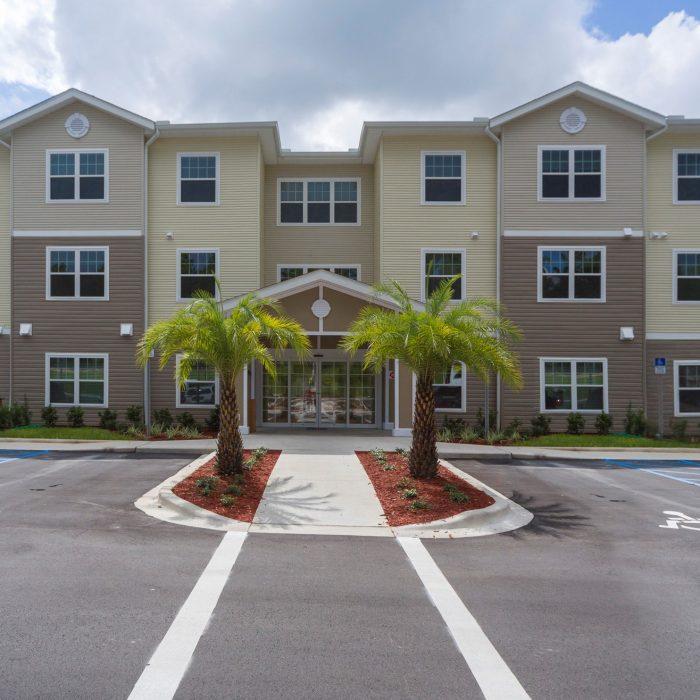 Senior living facility entrance parking lot