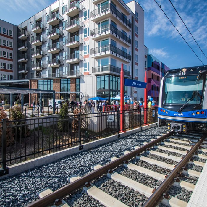 Luxury apartment complex next to light rail system