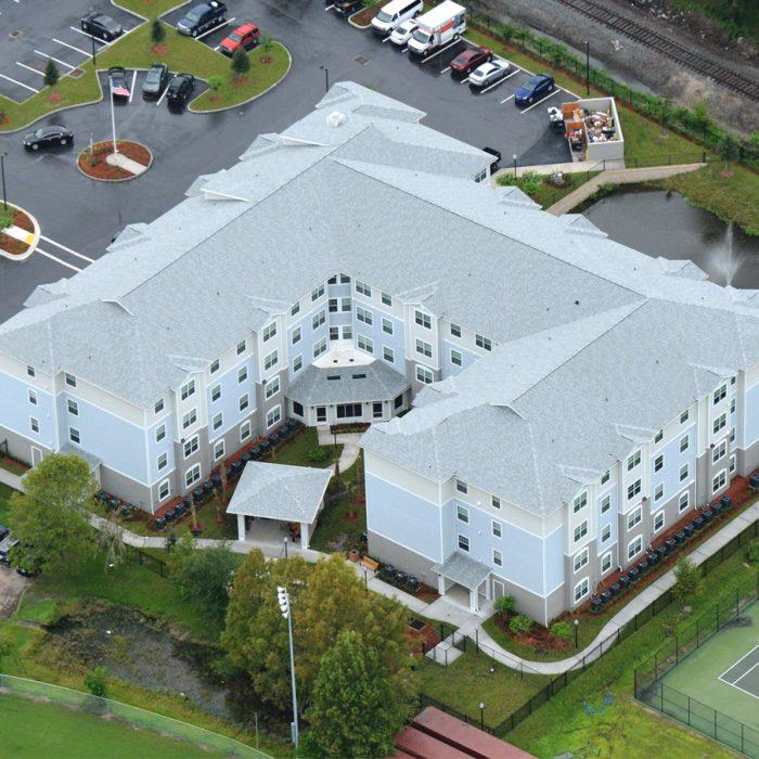 Multi level senior living facility aerial view