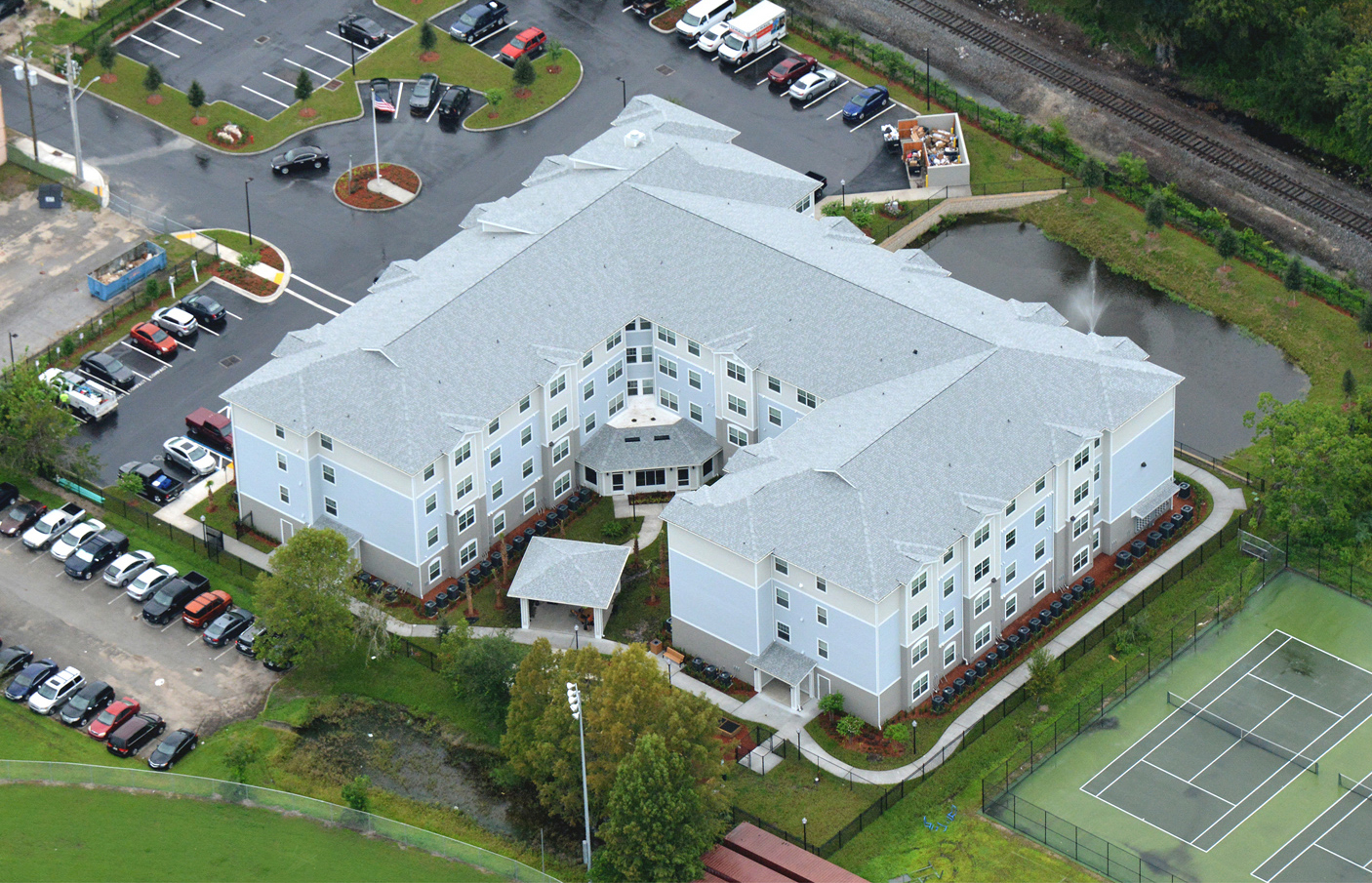 Multi level senior living facility aerial view