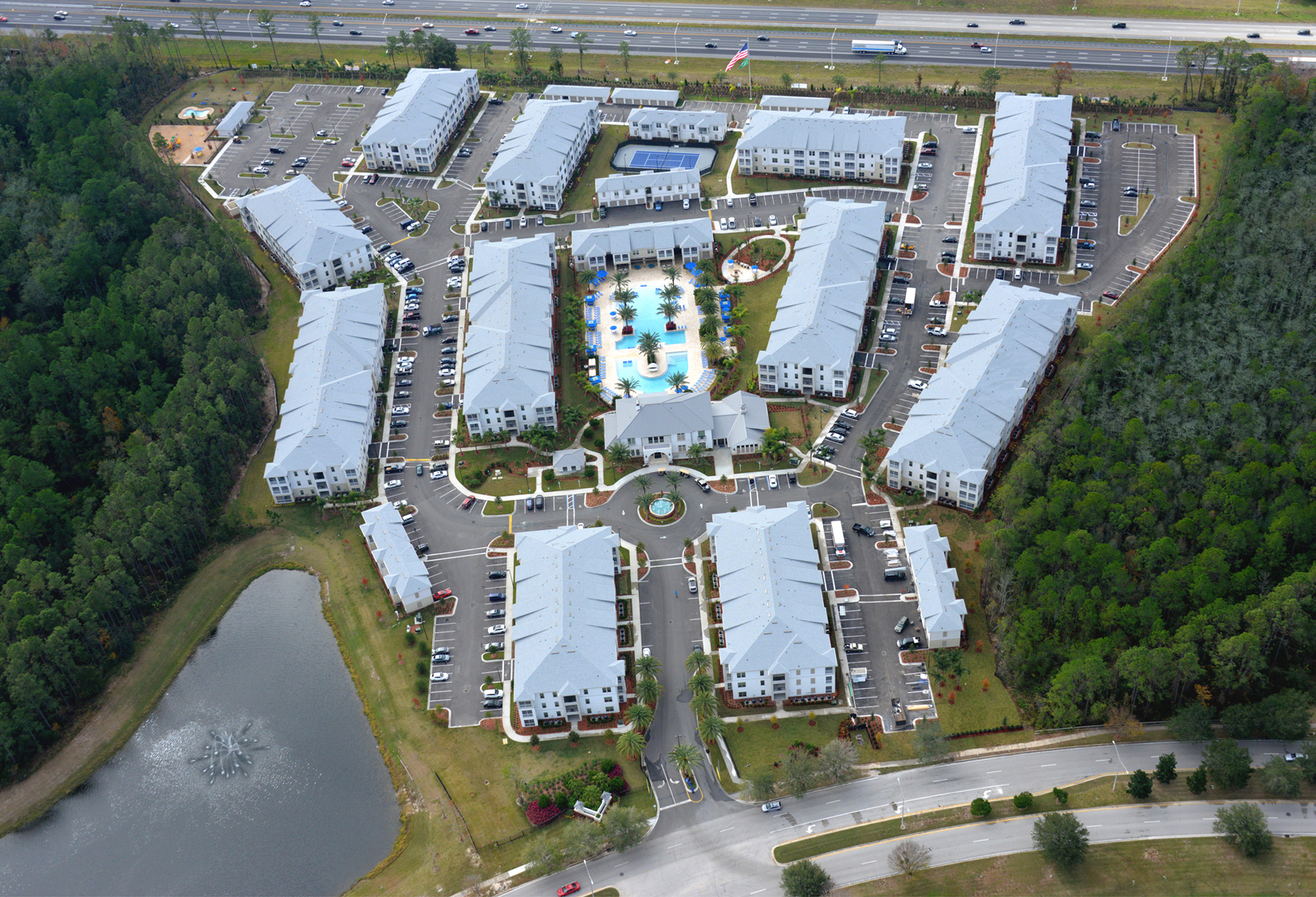 Aerial view of luxury apartment buildings