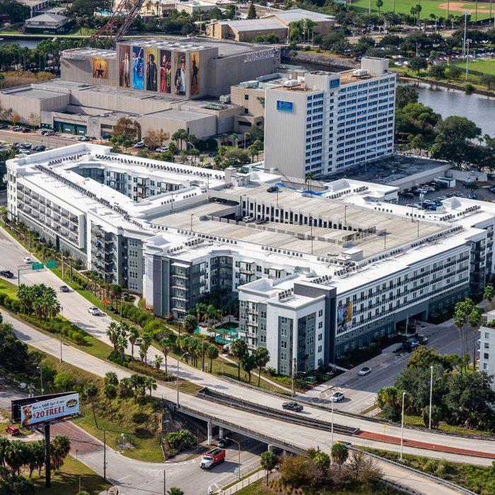 Luxury multi level apartment building aerial view
