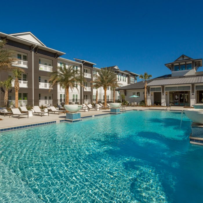 luxury multi level apartment complex pool area