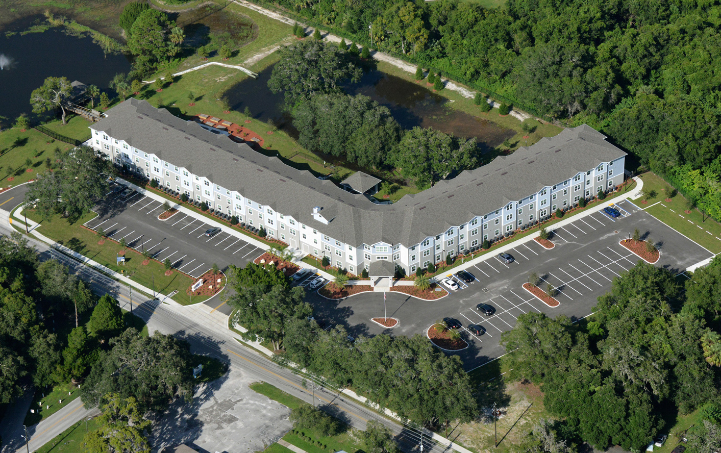 Multi story senior living facility aerial view