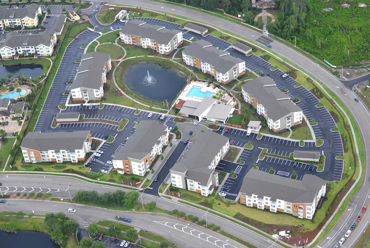 Multi story luxury apartments in Florida aerial view