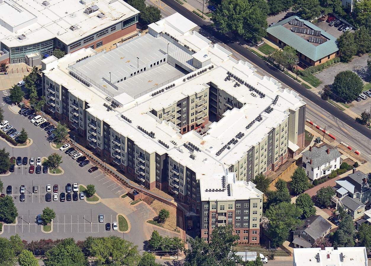 Luxury student housing apartments with inner courtyard angled aerial view