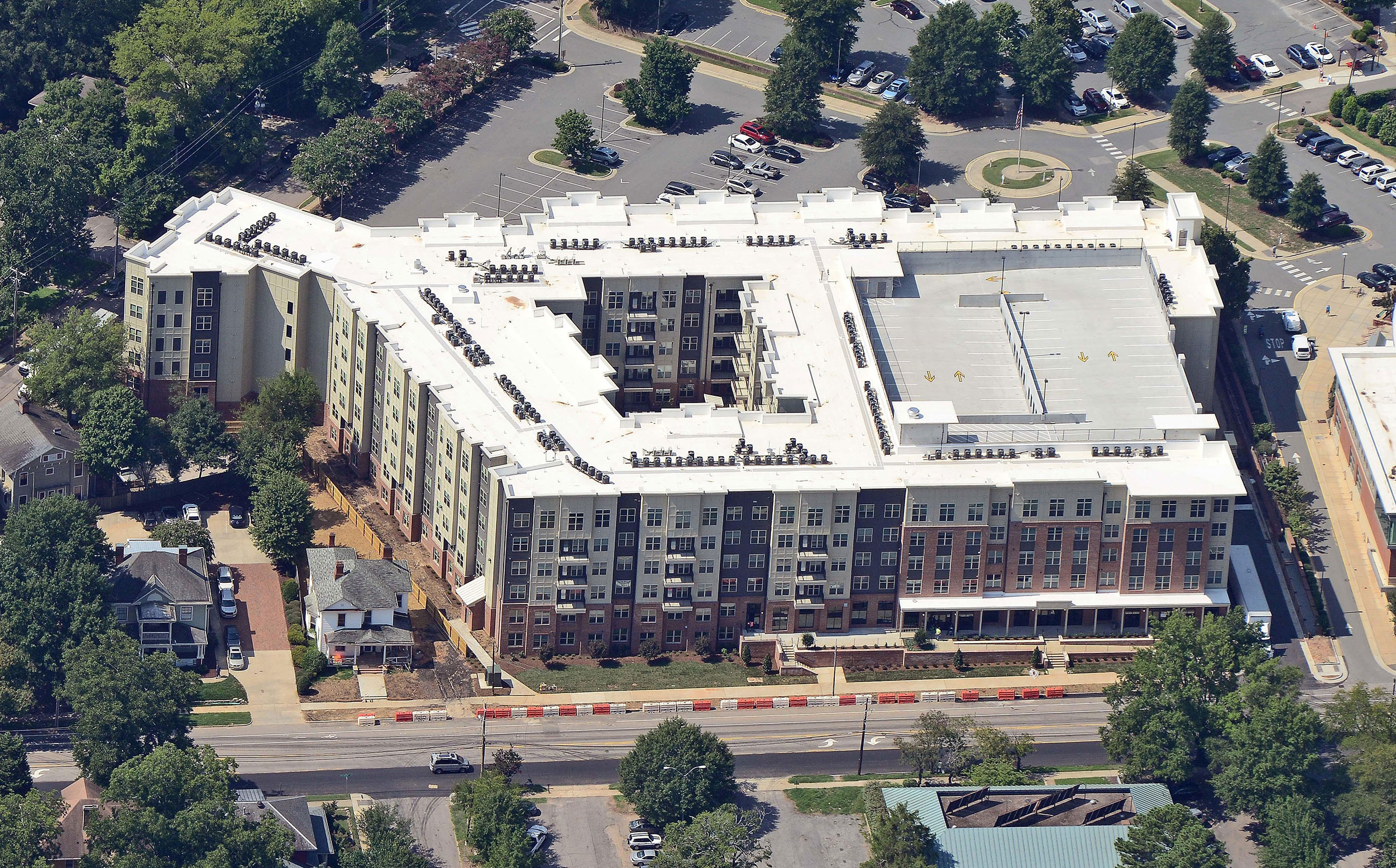 Luxury student housing apartments with inner courtyard aerial view
