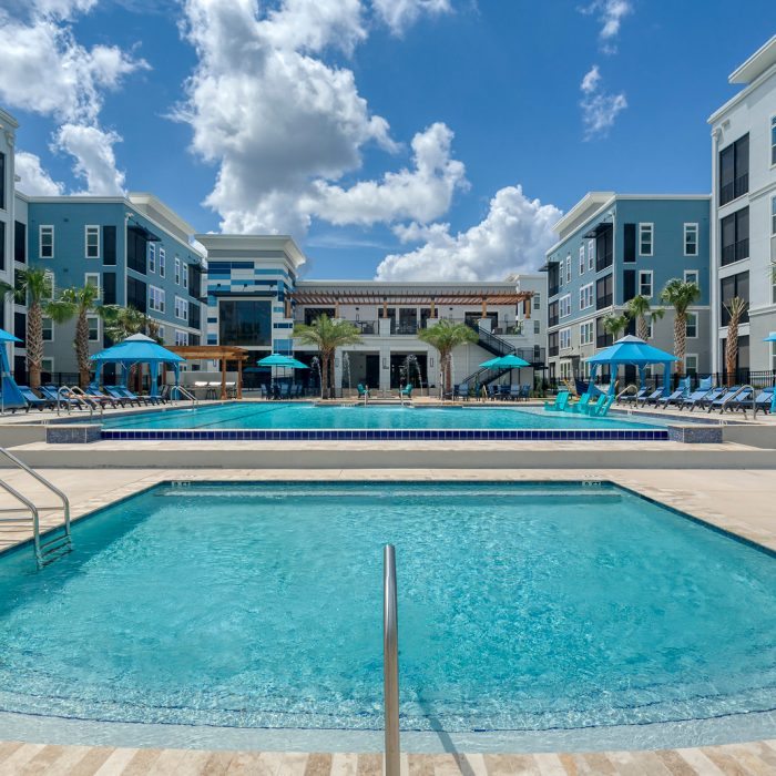 Multi story luxury apartments large open pool area