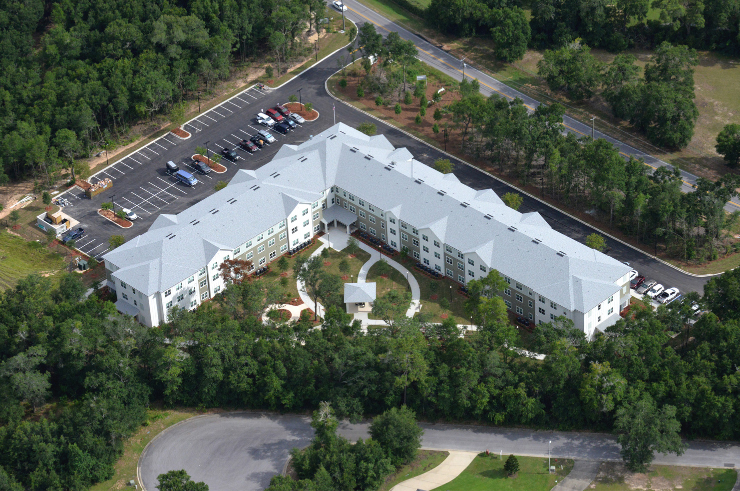 Multi story apartment complex aerial view