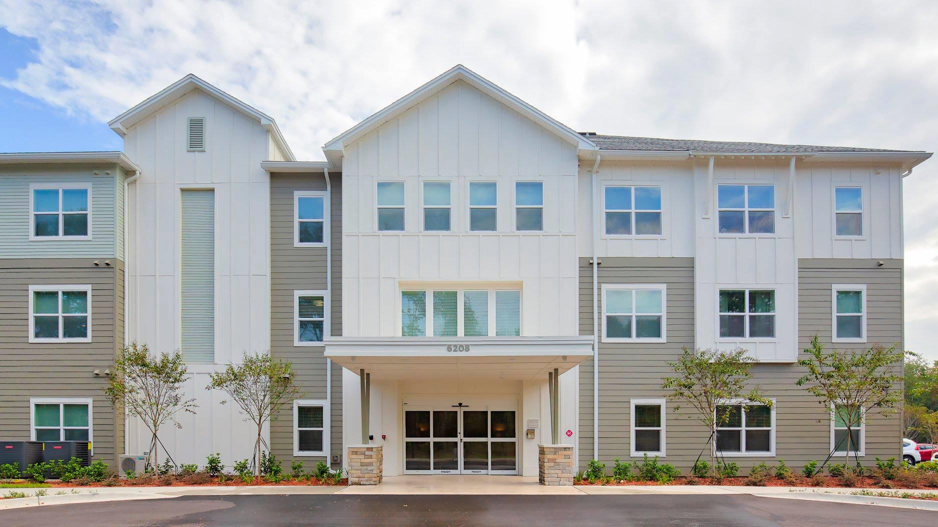 Multi story apartment complex main entrance