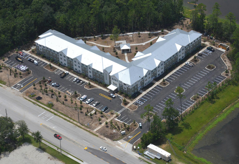 Multi story senior living apartments aerial view