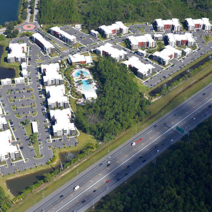 Multi story apartmen complex aerial view