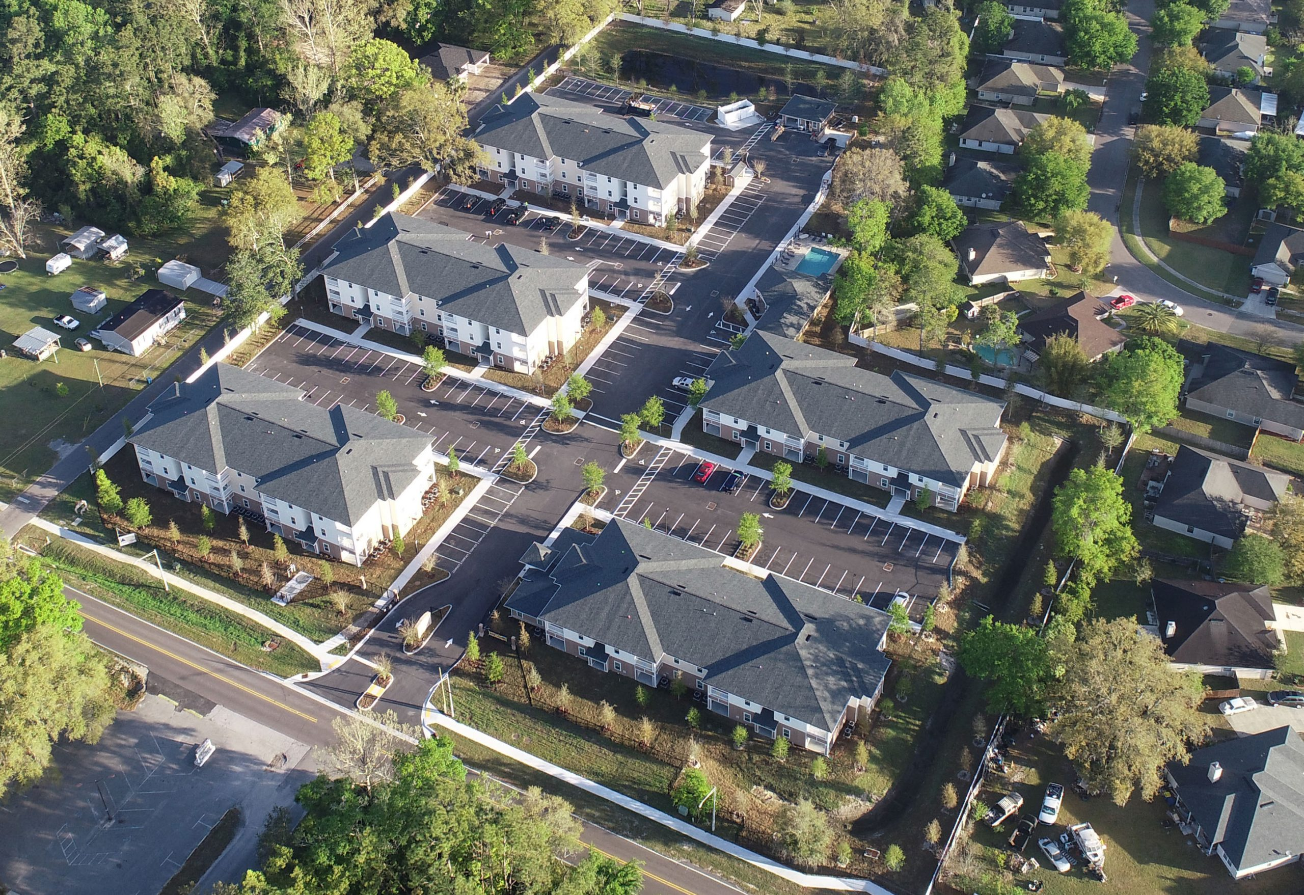 Multi story apartment building aerial view