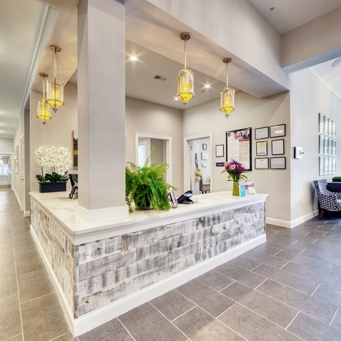 Senior living facility entrance and receptionist area