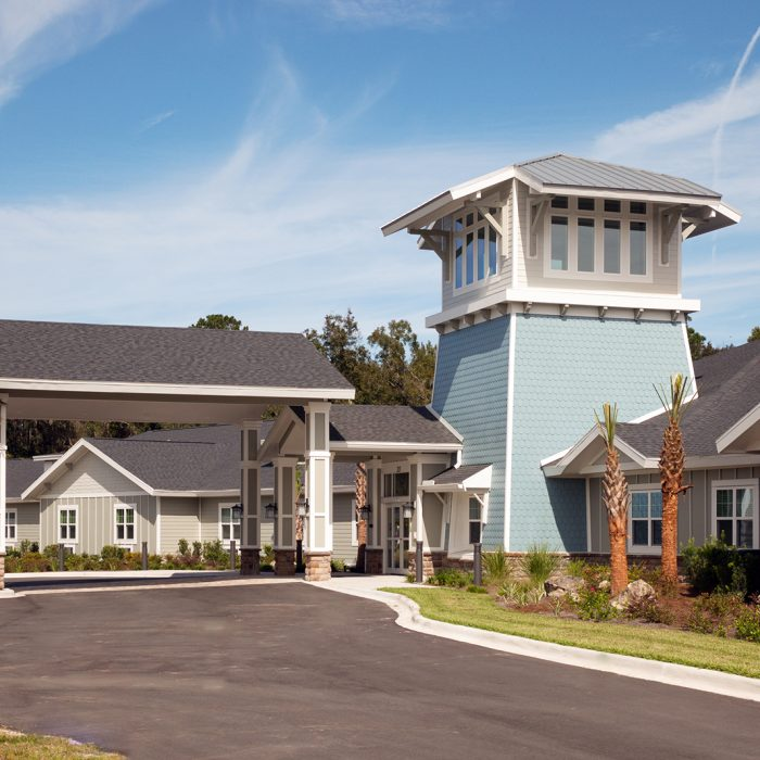 Senior living facility blue colored entrance in daytime