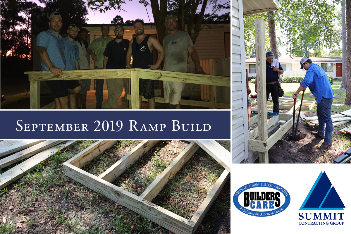 September 2019 Ramp Build collage with workers digging ground and posing by porch