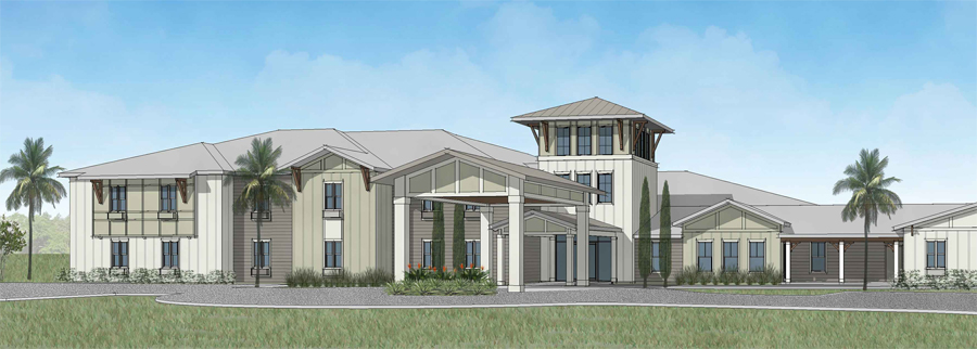 Living facility with shaded entryway and palm trees rendering