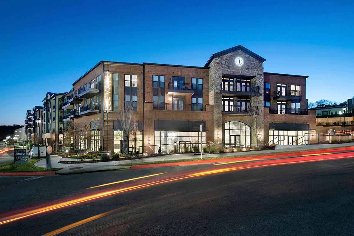 evening photo of apartment building