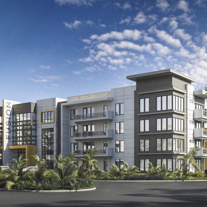 Luxury multi story apartment complex rendering