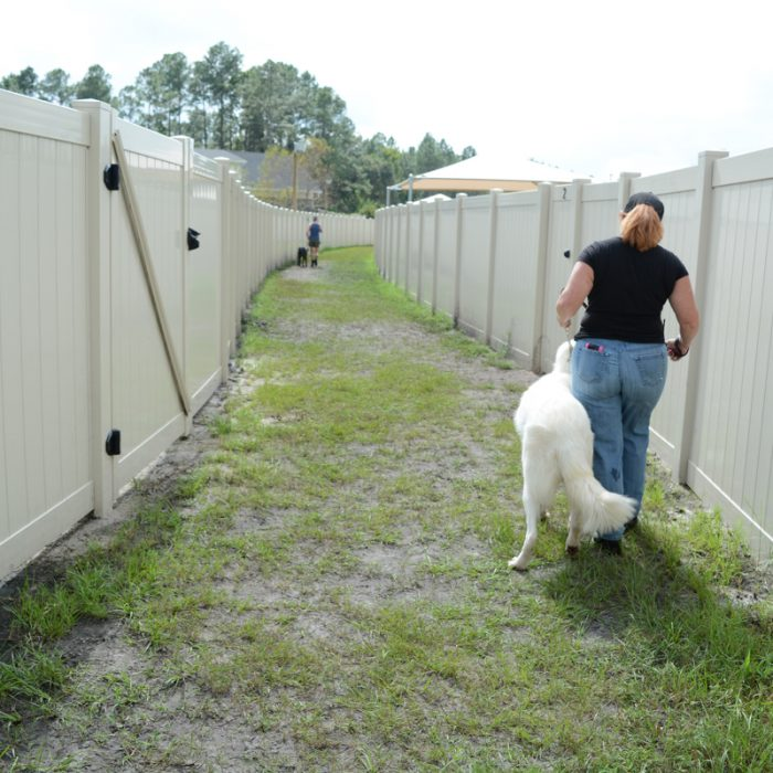 Woman walking dog at K9s For Warriors Project by Summit Contracting Group