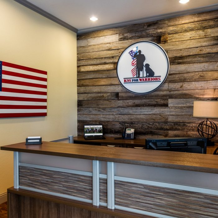 K9s For Warriors Project by Summit Contracting Group front desk