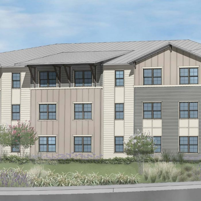 Multi story senior living apartment building rendering