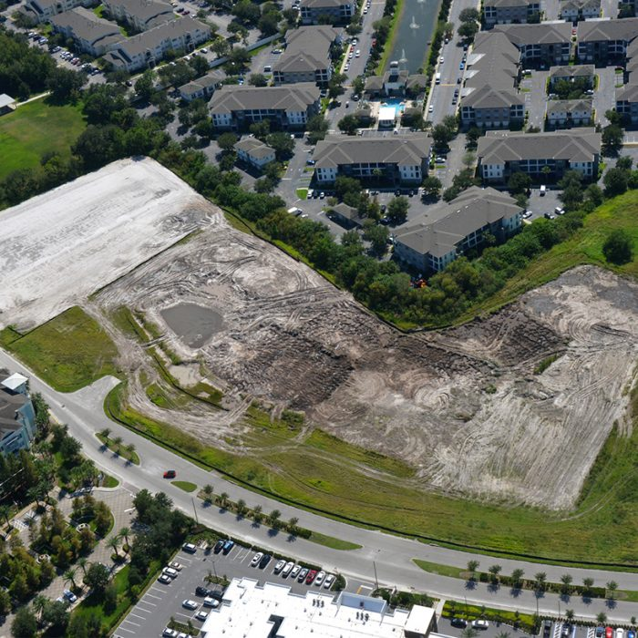 Empty lot for new apartment development aerial view