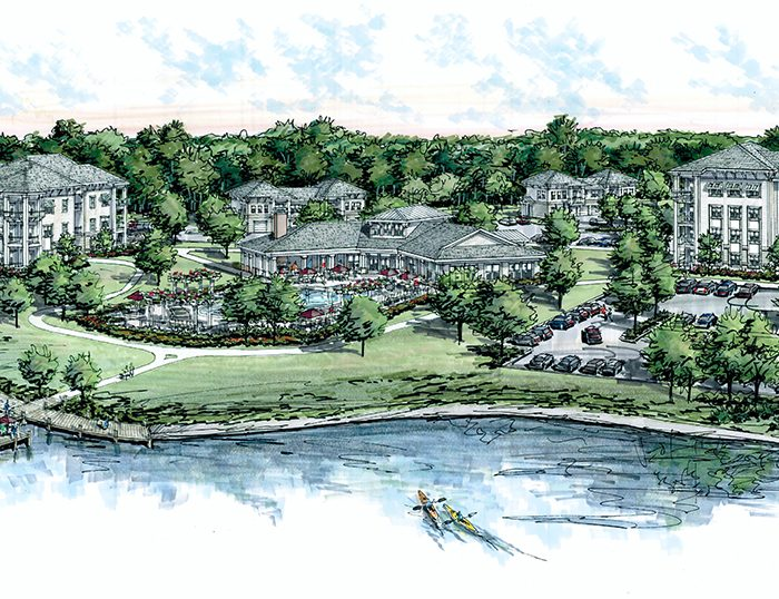 Lakeside apartment complex rendering with people in rowboat