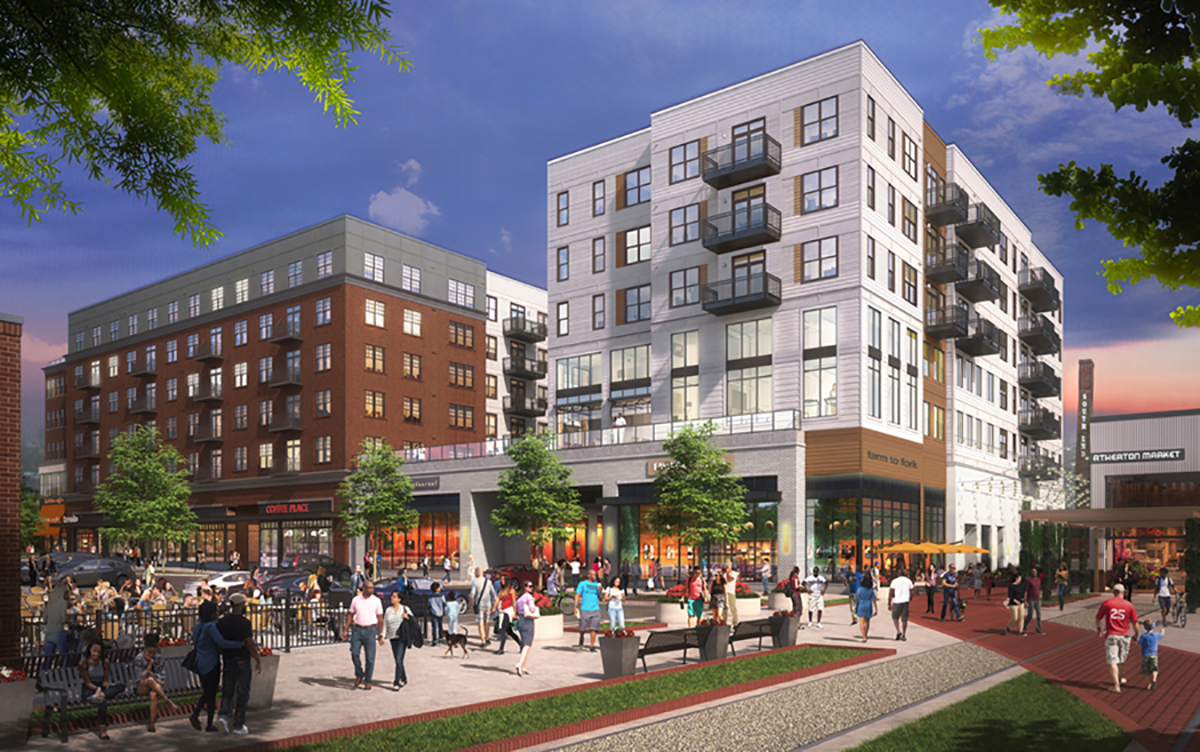 Luxury apartment complex rendering with people walking past
