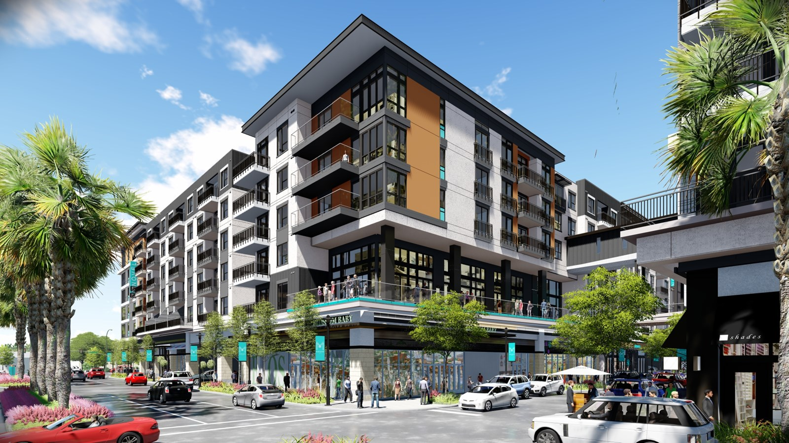 Luxury multi story apartment with pedestrians walking rendering