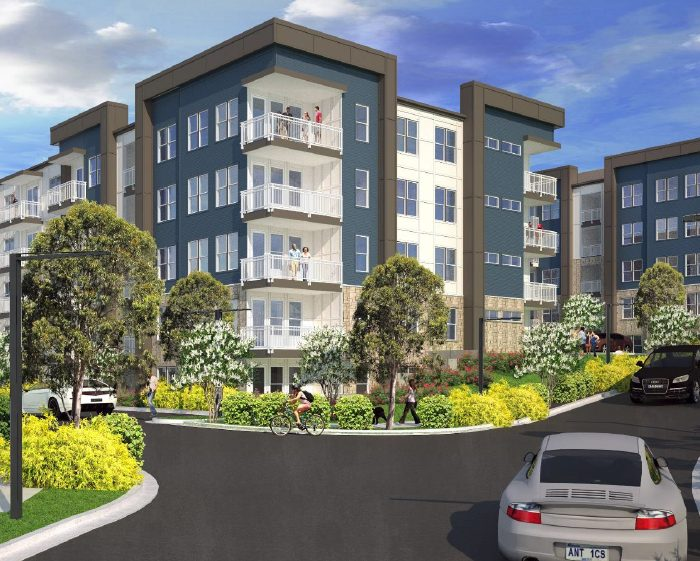 Multi story apartment complex rendering with car pulling up