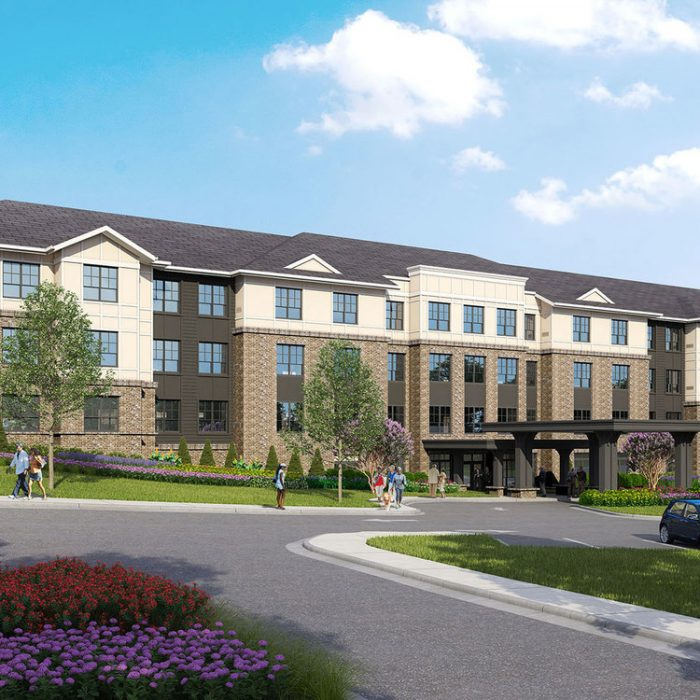 Rendering of multi story senior living facility with seniors walking around